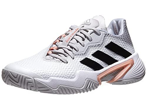 adidas Women's Barricade 12 Tennis Shoe, White/Silver Metallic/Ambient Blush, 8.5