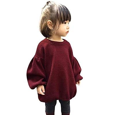 GRNSHTS Baby Girls Loose Long Lantern Sleeve Knit Sweater (A Wine, 12-18 Months)