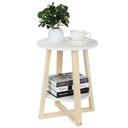 Zerone Semplice e Moderno Doppio tavolino,Bianco Tavolino Basso da Divano Tondo Comodino a 2 Piani archiviazione 40 × 40 × 50,5 cm