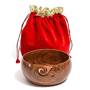 Hagestad Wooden Yarn Bowl for Knitting and Crocheting Travel Pouch and 2 Crochet Hooks Included Extra Large 8 by 4 inch