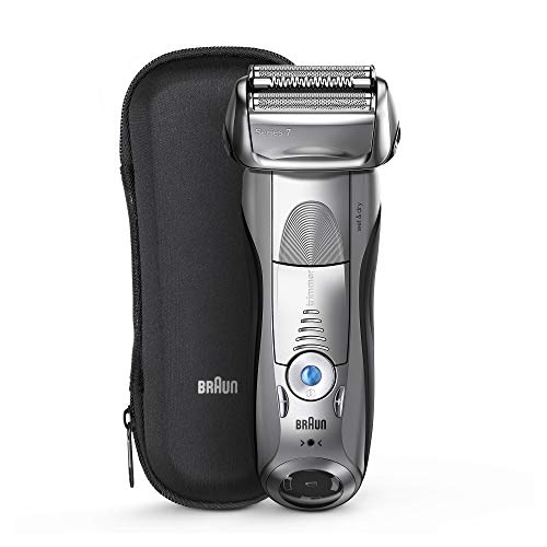 Braun Series 7 Electric Shaver for Men 7893s, Wet & Dry, Integrated Precision Trimmer, Rechargeable and Cordless Razor, with Travel Case,Silver Set