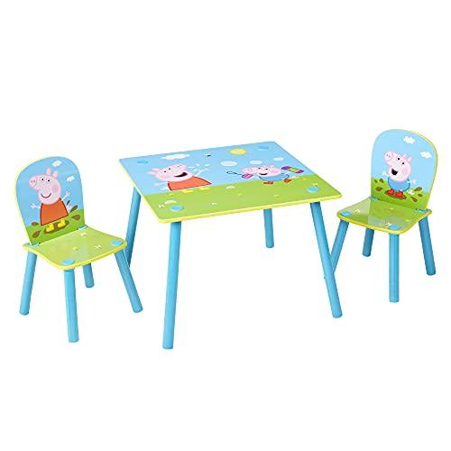 Peppa Pig Juego de 2 niños, Mesa de 43,5 cm de Profundidad, Dimensiones construidas (Aprox.) sillas de 52,5 cm de Alto x 29,5 cm de Ancho x 29 cm de Profundidad.