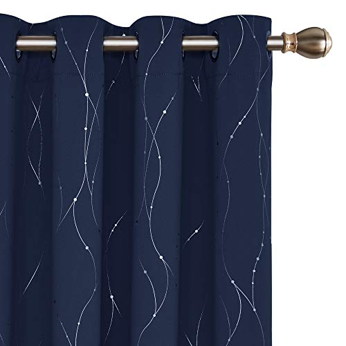 Deconovo Blackout Curtains Grommet Top Drapes Wave Line and Dots Printed Bedroom Blackout Curtains for Living Room 52 x 84 Inch Navy Blue 2 Panels