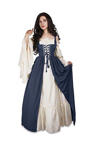 Mythic Renaissance Medieval Irish Costume Over Dress & Chemise Set (S/M, Steel Blue)