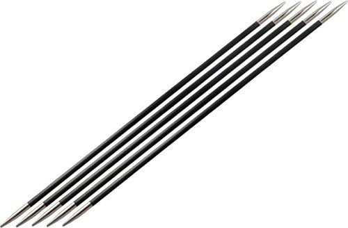 KnitPro 15 cm x 2,25 mm Karbonz Aiguilles circulaires à Double Pointe Noir et Argent