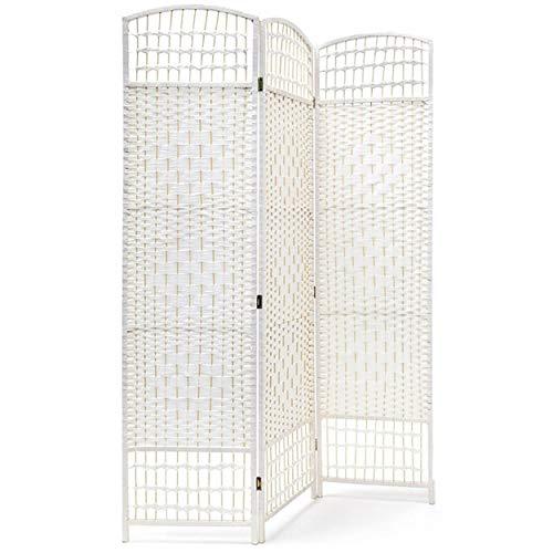 HOGAR Y MAS Biombo Blanco Country Bambú Natural 170 cm, Biombo Separador de Ambientes/Vestidor.3 Paneles 170x120cm - 3 Paneles