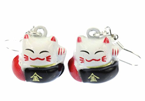Cat pendientes Winkekatze gato afortunado de Maneki-neko Miniblings negro de metal