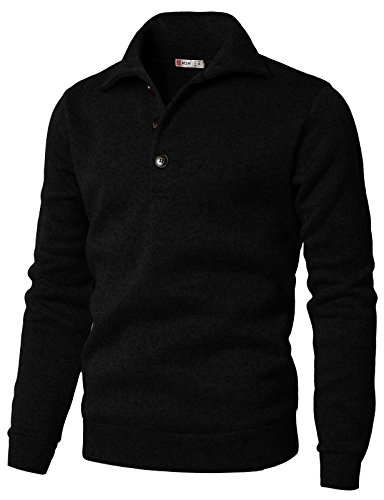 H2H Men's Slim Fit Turtleneck Basic Knit Sweater with Buttons Black US L/Asia XL (CMTTL091)
