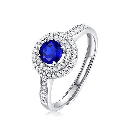 JIARU Anillo de plata de ley 925 para mujer, anillo de moda simple, anillo de zafiro y anillo de boda de circón para niña abierto anillo de regalo