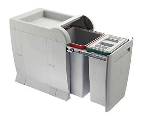 ELLETIPI City PTA 3040B Cubo de Basura de Reciclaje extraíble por la Base. Color Gris. Dimensiones: 28x 42x 44 cm