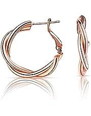 KUNLUN damer guldpläterade ringörhängen konfigurerade med 925 sterling silver öronstift (h?) lämpliga för flickor damer eller minnesgåvor