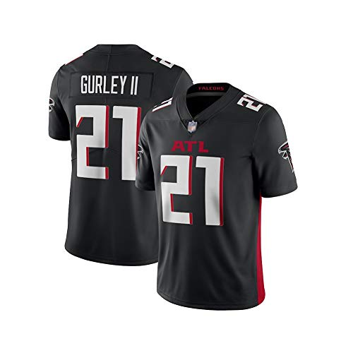 Rugby-Trikot Todd Gurley # 21 Atlanta Falcons Fußballtrikot, Unisex-Sport-Kurzarm-Sweatshirt Fitness Atmungsaktive Stickerei Wiederholbare Reinigung Black-L(180cm~185cm)