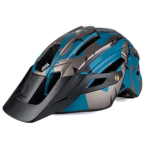 PerGrate Bicycle Helmet,Adult Bike Helmet Mountain Bike Breathable Adjustable with Warning Light for Cycling Men Women, Black and Dark Blue
