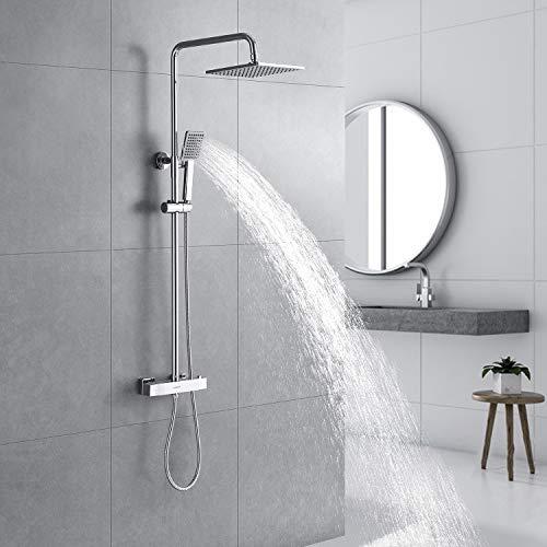 Kaibor Luxus Duschsystem (chrom) mit Thermostat, Eckige Regendusche 22 x 22 cm, Verbrühschutz.