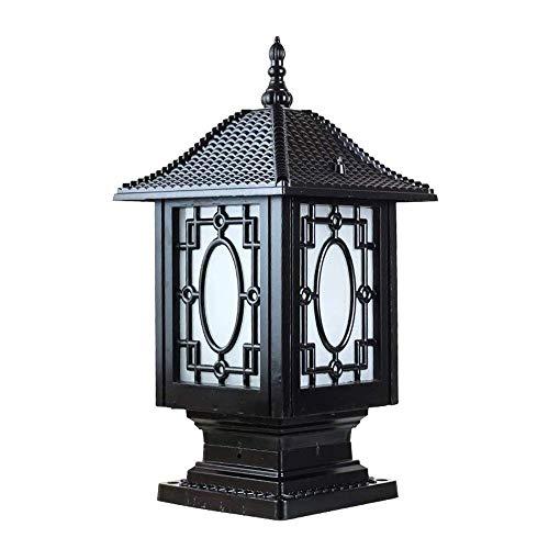 ZYLE Lámpara de Pared de la lámpara del Poste de la Puerta de la lámpara Impermeable al Aire Libre Jardín Villa lámpara (Color : Black)