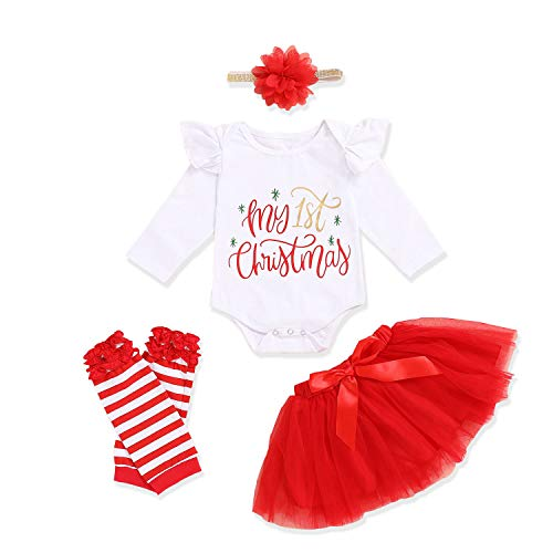 Baby Girls Christmas Skirt Set Baby Girl My 1st Christmas Romper + Tutu Skirt + Leg Warmers + Headband 4Pcs Outfits (Red, 0-3Months)