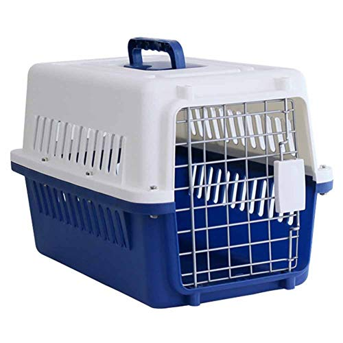 Transportbox Hartseitig Haustierträger, Tragbarer Katzenträgerkäfig, Von der Fluggesellschaft zugelassene kleine Hundereisebox mit Griff und federbelasteter Türverriegelung (Size : L 66×53×47cm)
