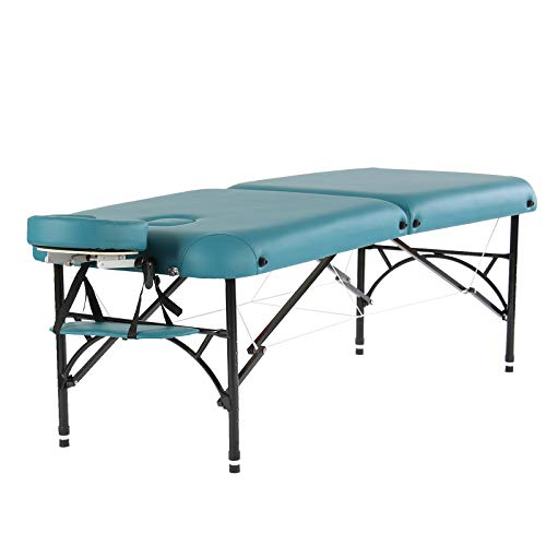 Artechworks 28' Width 2 Folding Portable Lightweight Massage Table Facial Salon Spa Tattoo Bed With Aluminium Leg(2.56' Thick Cushion of Foam) for Home Office for Home Office Living Room, Teal Green