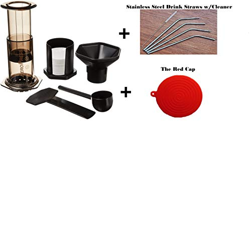 Aeropress Coffee and Espresso Maker With Bonus Drink Straws & The Red Cap