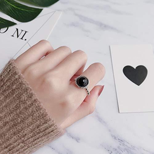 DLIAAN Ringen Paar Open Ringen Retro Creatieve Ronde Zwarte Onyx Influx Mensen Voorwijsvinger Staart Ring Agaat Eenvoudige Mode Gift Sieraden