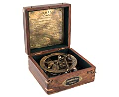Size:- 12.5cm - Dia x 5cm - High (Sundial Compass) Size:- 15cm - L x 15cm - W x 7cm - H (Wooden Box) 100% Brand New and high quality. Made of Solid Brass.