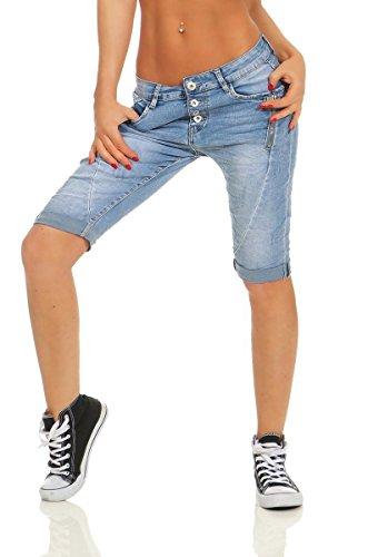 Fashion4Young 6010 Damen Jeans Bermuda Denim Shorts Kurze Hose Stretch Destroyed Baggy (6010-2-Blau, XS-34)