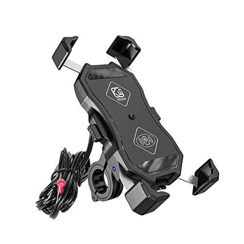 balikha Sujeción automática Motocicleta teléfono Montaje Cargador inalámbrico qi y USB Carga rápida 2 en 1 Manillar teléfono Celular Titular 360 rotación para