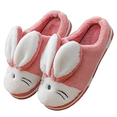 Zapatillas de Estar por casa para Niña Pantuflas Invierno Interior Dormitorio Suave Casa Caliente Zapatos Antideslizantes Peluche de Animales Slippers, Conejo Rosa Rojo, Talla (27/28 EU=28/29 CN)