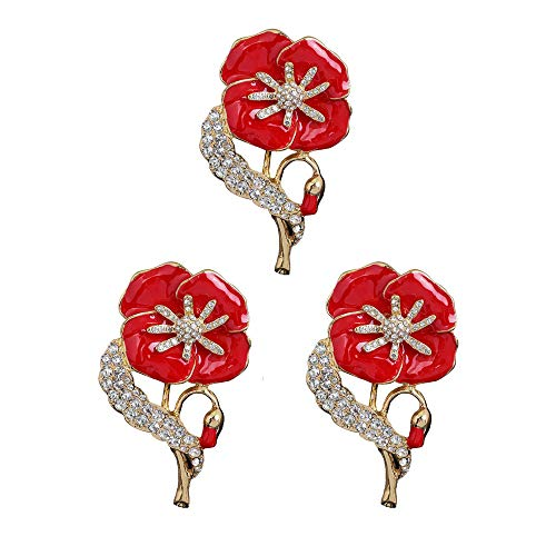 JQFEN 3Pcs Red Poppy Brooches Pin Flower Brooch Memorial Day Gifts Remembrance Day