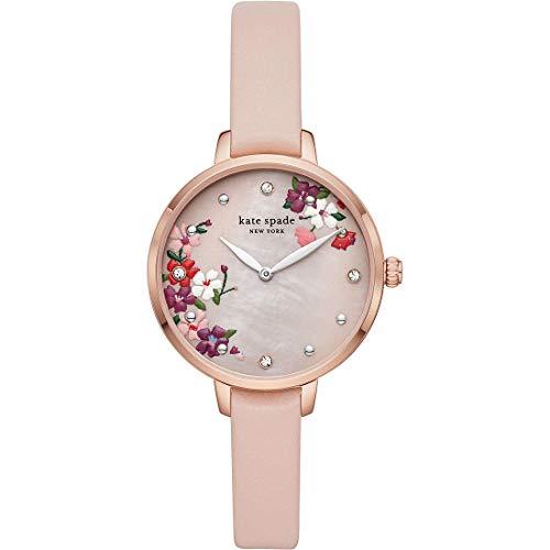 Kate Spade New York Metro rosa Blumenzifferblatt mit rosa Lederarmband für Frau Uhr KSW1618