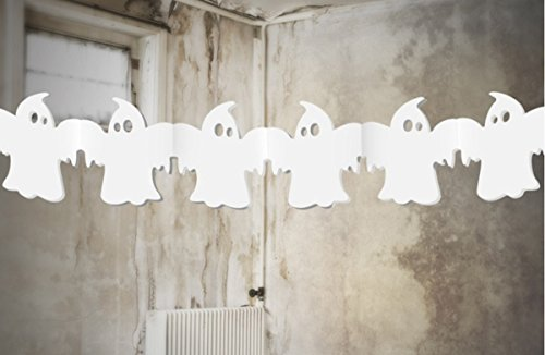 Feste Feiern Halloween Deko I 1 Teil Girlande Geister Ghost Weiss 300cm Lang Happy Horror Grusel Party