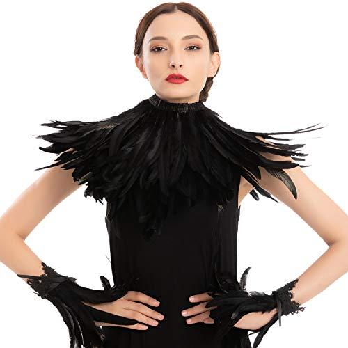 Black Queen Accessories Set con chal, puño, fiesta de disfraces de Halloween