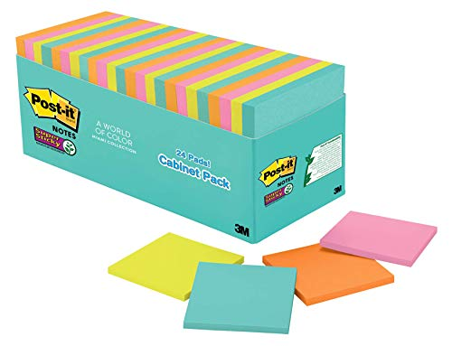 Post-It Super Sticky Notes, 3 In. x 3 in, Miami Collection, 24 Pads/Pack, 70 Sheets/Pad Azul, Verde, Naranja, Rosa 70 Hojas Pouch Autoadhesivo
