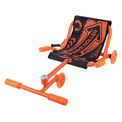 Off Road Suspension Go Kart Self Balancing Scooter Kids Ride en el Auto de Pedal con 3 Ruedas Luminosas y Palanca de Rueda Delantera Ajustable, Coche Swing para niños Regalo,Naranja