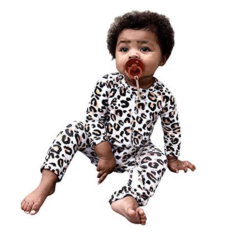 Moneycom Ropa de bebé para niño y niña de manga larga con estampado de leopardo con volantes para cumpleaños, bodas y fiestas multicolor 0-3 Meses