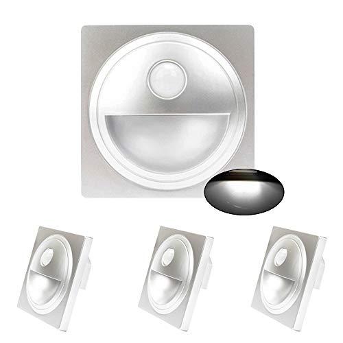 Arote - Juego de 4 luces LED para escaleras con detector de movimiento, 230 V, color plateado (para caja de interruptor de 60 mm, luz blanca fría)