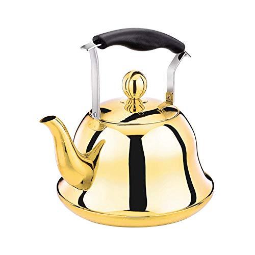 Hervidor silbador de 2 L para estufa de gas, cocina de inducción, acero inoxidable, silbador, hervidor de té, tetera, botella de agua, cafetera y tetera, de China_Titanio