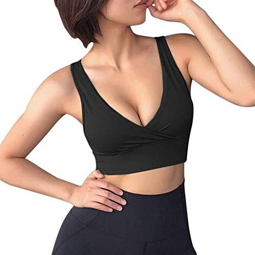 NPRADLA Frauen Yoga Weste Sommer Spaghettibügel Leibchen Bandage Rückenfrei Gepolsterter BH Knopf Gym Running Bandeau Bluse Frau Cami Tops