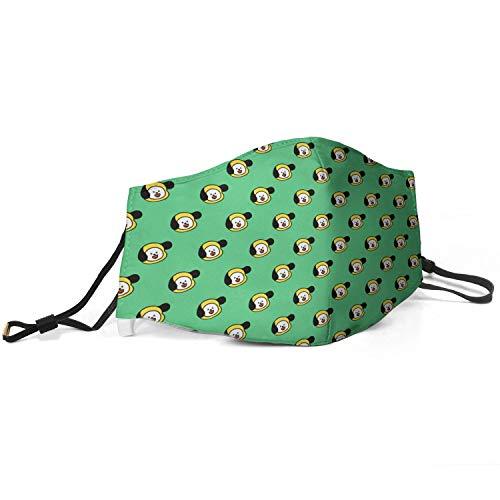 BTS-Chimmy-Green- Kpop Mundschutz für Damen, verstellbar, wiederverwendbar, gegen Verschmutzung und Staub