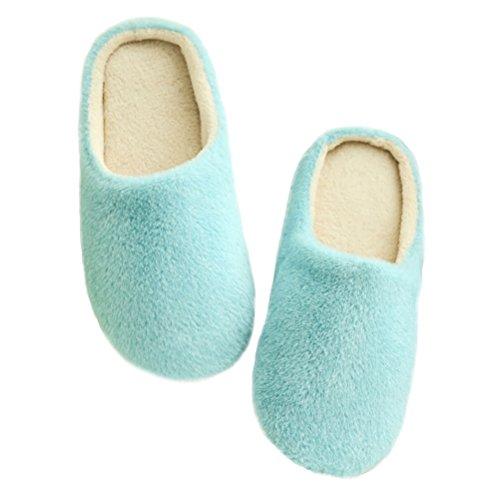 LUOEM Zapatillas de Estar por Casa Mujer Hombre Invierno Pantuflas Zapatillas Peluche Algodón Suave Azul Size 36-37