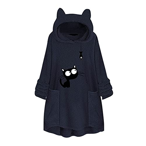 여성 까마귀 양털 버튼 코트 탑스 캐주얼 컬러 블록 패치 워크 후드 튜닉 대형 레오파드 소녀 톱니 OSTWEAR