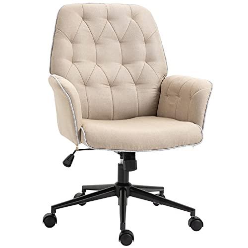 Vinsetto Bürostuhl mit Wippenfunktion Drehstuhl Home-Office-Stuhl höhenverstellbarer Schreibtischstuhl ergonomisch 360°-Drehräder Schaumstoff Beige 66 x 69 x 89,5-97 cm