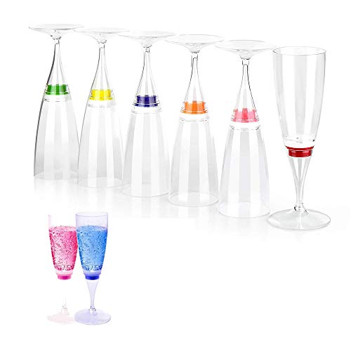 LED Wine Champagne Flute Glasses, Homeya (Set of 6 Multi-Color) Water Liquid Activated Flashing Light Up Cup Blinking Cocktail Whisky Drinkware Glow Mugs for Wedding Bar Club Christmas Party Gifts