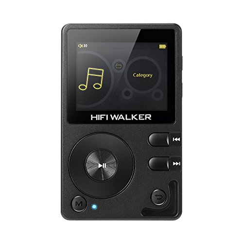 HIFI WALKER H2, High Resolution Bluetooth MP3 Player, DSD DAC OTG, Portable Digital Audio Music Player with Memory Card and HD Earphones, Support Up to 256GB