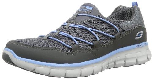 Skechers Sport Women's Loving Life Memory Foam Fashion Sneaker, Charcoal/Blue, 9 M US
