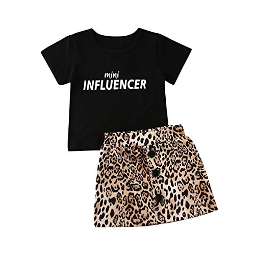 2Pcs Toddler Baby Girl Skirt Outfits Set Short Sleeve Letter T-Shirts Tops+Leopard A Line Pencil Skirt Mini Dress Outfits Set (3-4 Years,Black Letter T-Shirts+Leopard Skirt)
