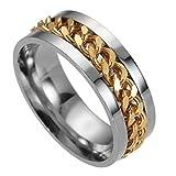 Aztnrwen - Anillo giratorio de titanio unisex, acero cepillado, diseño de cúpula de boda, color dorado