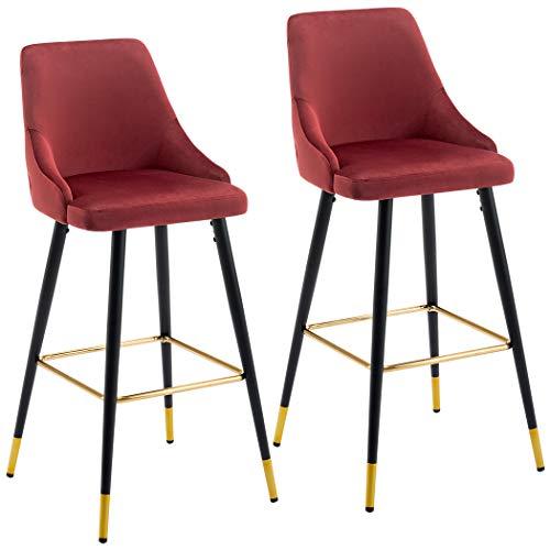 Juego de 2 taburetes de Bar Tela (Terciopelo) Cuadrado con Respaldo Patas de Metal seleccion de Color Duhome 5170G, Color:Rojo, Material:Terciopelo