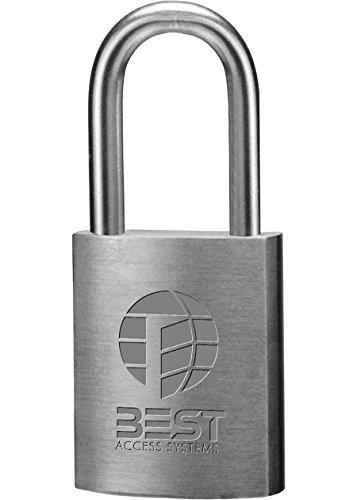 BEST Access Systems 21B722L kłódka, szekla ze stali nierdzewnej, korpus z mosiądzu, wysokość szekla 3,5 cm, szerokość 2,5 cm (25/32), długość 5 cm (1/40 cm), grubość 33/40 cm
