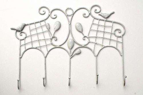 Perchero Estilo Rústico Vigo I Colgador De Pared con Estructura De Metal I Perchero Retro con 5 Ganchos I Color:, Color:Blanco